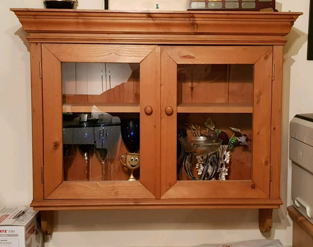 Solid Pine Wall Cabinet With Glass Display Doors By Lathams In