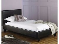 "3Ft Single Leather Bed Black/Brown With 9"" Thick Deep Quilt Mattress -- Brand New -- SAme day Drop"