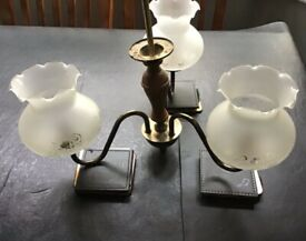 Antique effect brass ceiling light - attractive floral glass