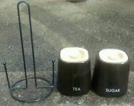 Free tea & sugar canisters, kitchen roll holder