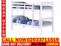 Brand New White Wooden Bunk Bed Available With Mattress Jersey City