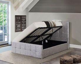 Crushed velvet side lift bed