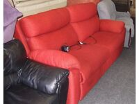 Red material electric reclining sofa