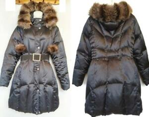 Large DOWN & REAL FUR Winter Parka Long UTEX BLACK Ladies Womens Warm Coat Long Knee-Length EUC