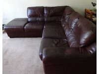 Brown Leather Corner Sofa and Armchair
