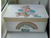 Handpainted large personalised keepsake boxes
