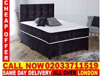 Brand New DOUBLE Crush Velvet Divan Bed Available With Mattress Order Now Blanchardville