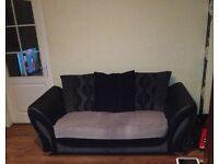 Fabric &Leather look Couch & Large Cuddle chair