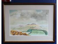 Painting Eildon Hills Melrose Scottish Borders Scotland Landscape £80 ono