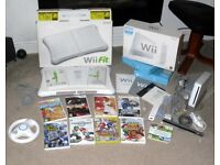 Boxed Nintendo Wii Console + Balance Board + 10 Games Inc Wii Fit Wii Sport Mario Kart + Wheel
