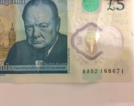 New £5 note Serial Number AA52