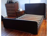 Faux Leather double bed frame (dark brown)