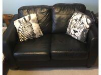 Beautiful Black Real Leather Debenhams Sofa