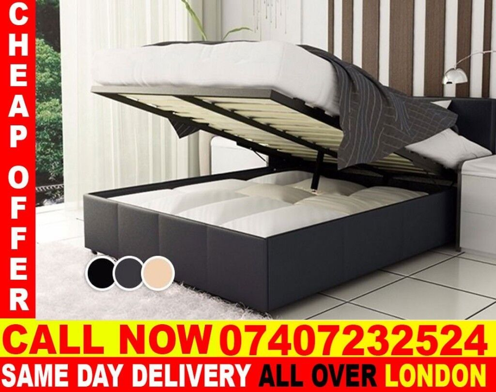 DOUBLE LIFT UP STORAGE LEATHER BED FRAME --- Oakland & DOUBLE LIFT UP STORAGE LEATHER BED FRAME --- Oakland | in Tooting ...
