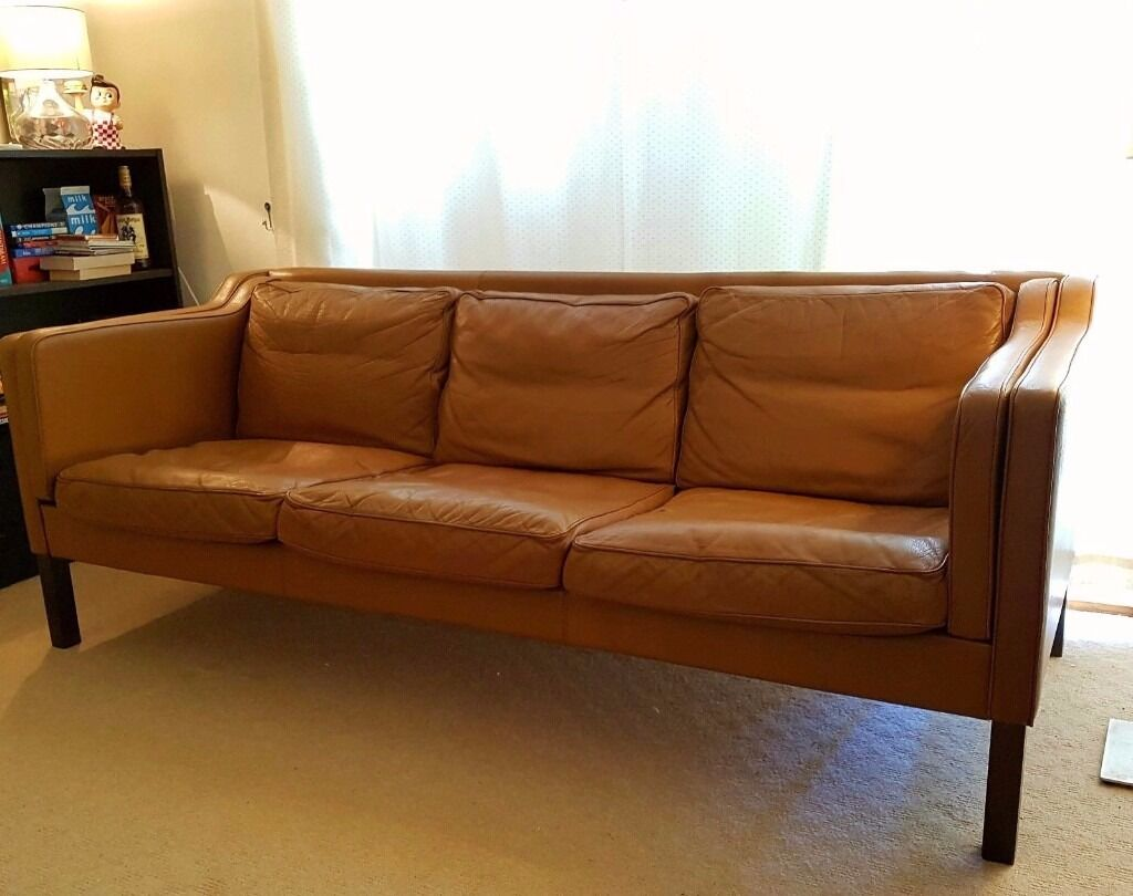Incroyable 1970s Retro DANISH 3 Seat LEATHER SOFA Borge Mogensen Style Mid Century