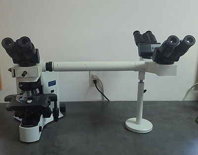 Olympus Microscope Bx41 With 2x Multihead Teaching 3 Heads