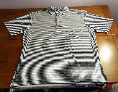 Peter Millar Summer Comfort Polo Golf Shirt Size L Large Blue White Stripe Euc