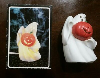 Vintage Halloween GHOST Pumpkin Jack O Lantern NIGHT LIGHT Taiwan 1980 Porcelain