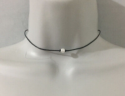 Black Cord with Small Dainty Faux Pearl Bead Choker Necklace](Small Beads Necklace)