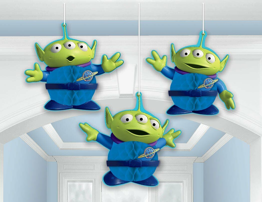 "Toy Story - 3 PCS Alien 7"" Honeycomb Decoration Birthday Par"