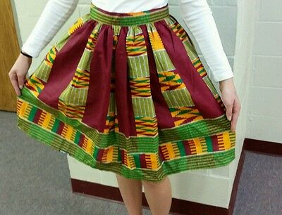 New African Kente Print Women Skirt w/Two Pocket & Earring Sz M - L