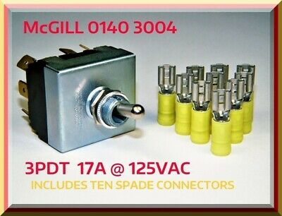 Mcgill 0140 3004 Toggle Switch 3pdt Heavy-duty Includes Ten Spade Connectors