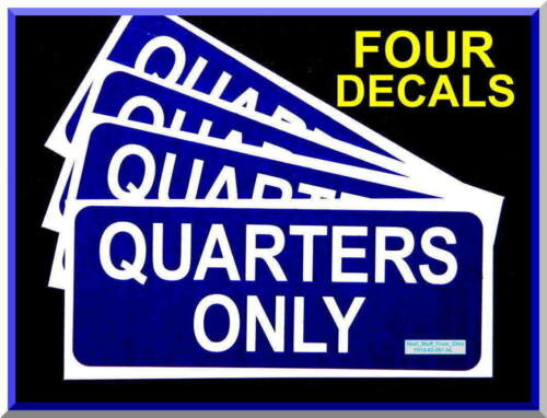 QUARTERS ONLY, AIR VAC VENDING MACHINE DECALS, LARGE, DARK-BLUE, HIGHEST QUALITY