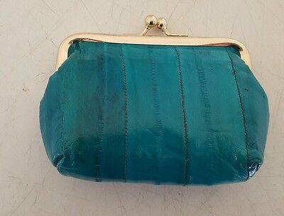 - Marshal Genuine Eel Skin Turquoise Woman's Twist Snap Change Purse