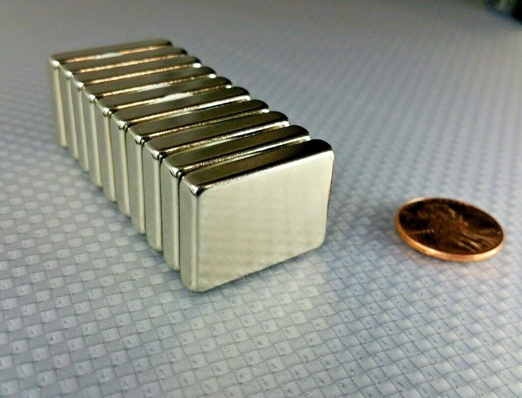 "10 Huge Neodymium Block Magnets. Super Strong Rare Earth N52 grade 1"" × 3/4"""