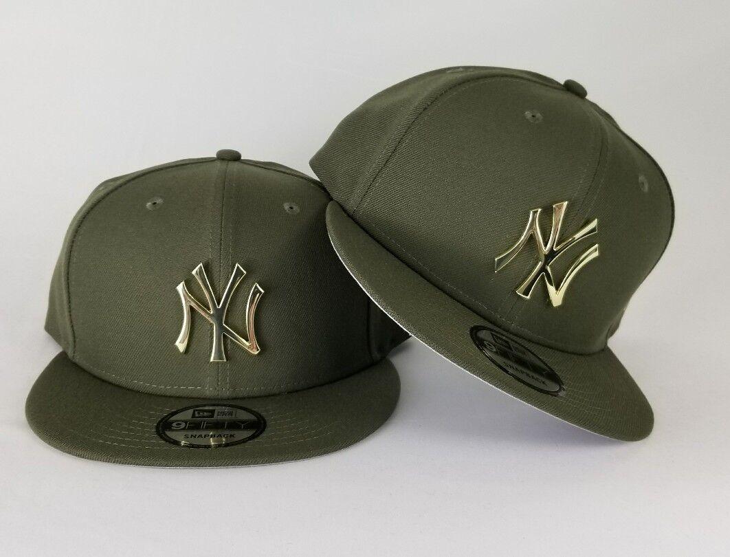 New Era Olive Green New York Yankee Gold Metal Badge Logo 9Fifty Snapback  Hat 2779e3c78a7f