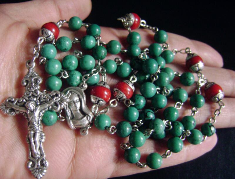 Natural Turquoise Beads & Silver Red Coral rosary crucifix Cross Necklace & Box