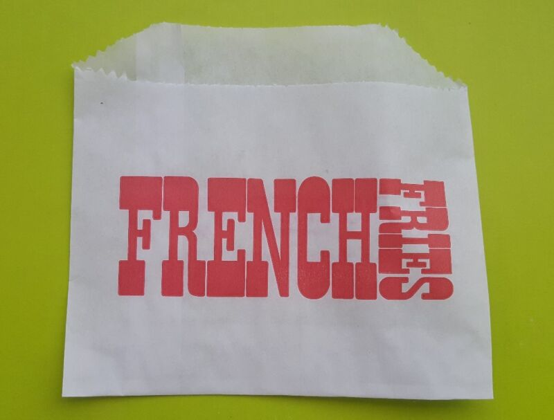 "1000 French Fry Fries Bag, 4.5"" x 3.5"", Grease Resistant Printed Paper 1000/case"