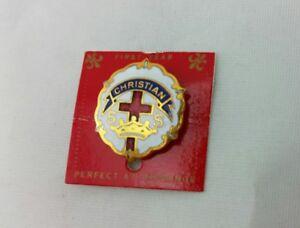 Vintage Christian CROSS & CROWN Sunday School SS Lapel PIN Enameled Metal NEW