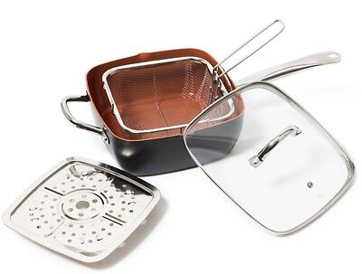 Non Stick Black & Copper Chef Saute Frying Fry Deep Square Pan with Induction