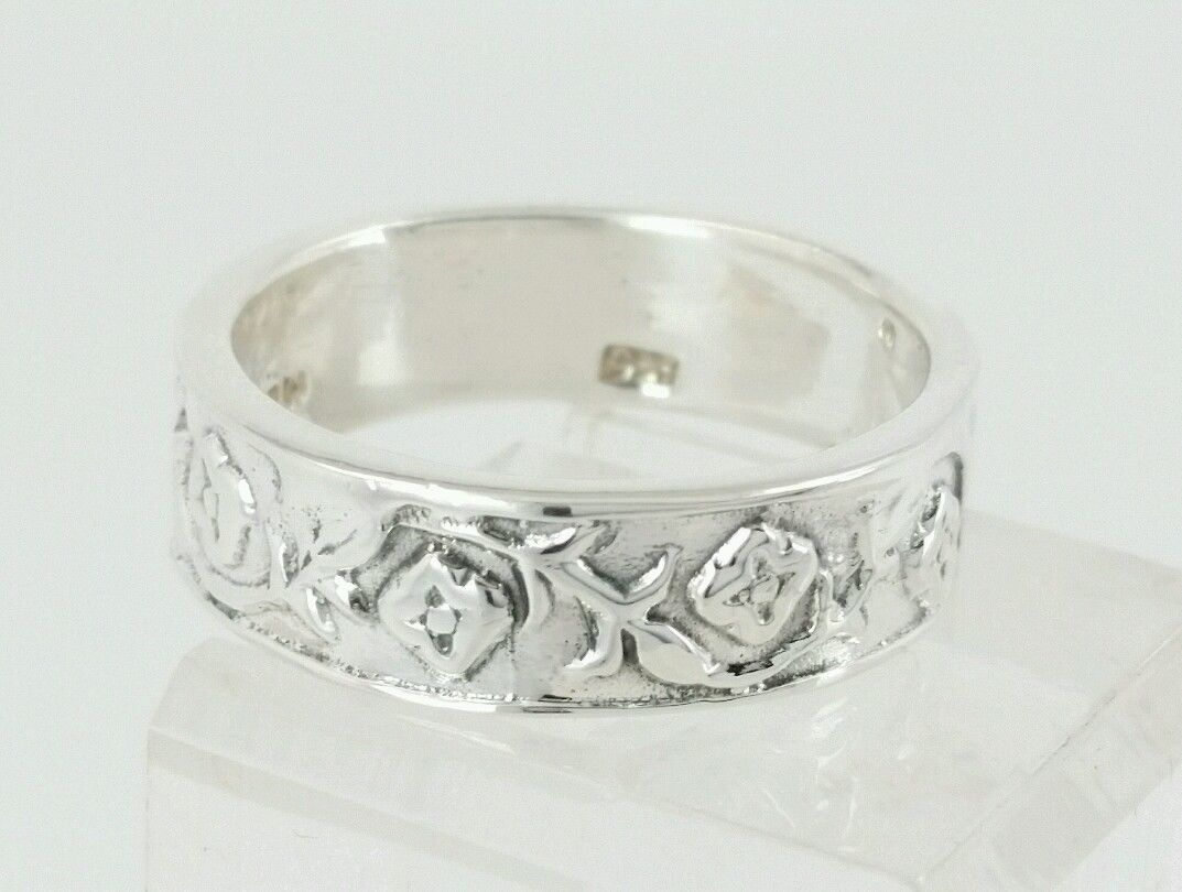 825 Silver Flower Band Ring Size 9 Made In Mexico   eBay