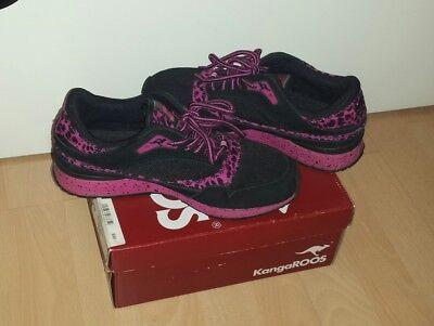 Kangaroos Leder-sneaker (Sneaker KangaROOS Schwarz Pink Leopard Gr.38 Leder Details )