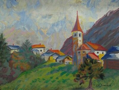 Old vintage artist signed original expressionist oil painting town church