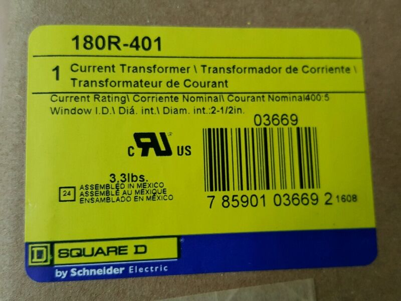 Square D Current Transformer 180R-401 Current Rating 400:5 - BRAND NEW!  SEALED!