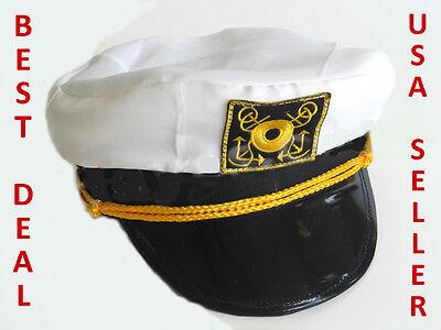 Captain's Hat Costume Cap Boating Marine Sailor Seaman Admiral Navy Headwear