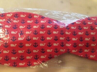 NWT Vineyard Vines Pink Navy Anchor and Whlte 100% Silk Bow Tie Original Wrap ()