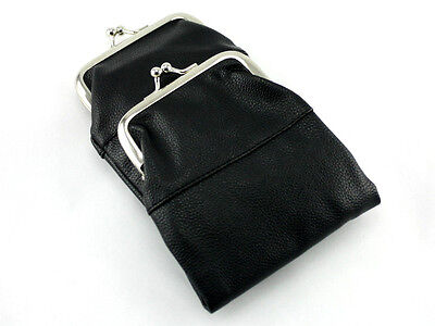 (Black Leather Purse Cigarette Pack Holder Pouch Case With Coin Purse)