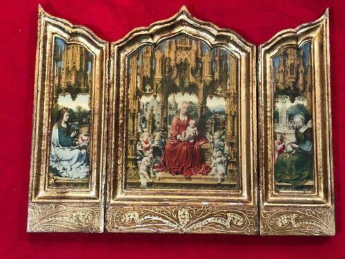 Antique Religious Triptych Italian Florentine Travel Icon Vintage 1900