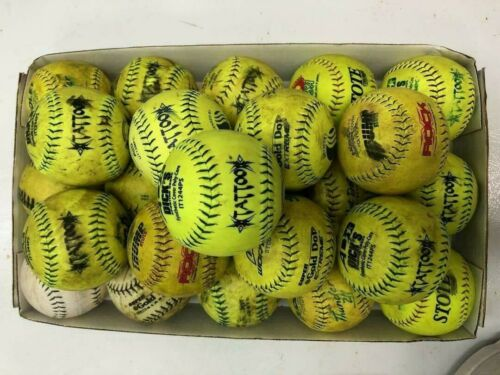2 DOZEN USED SOFTBALLS , MIXED LOT , 12 INCH