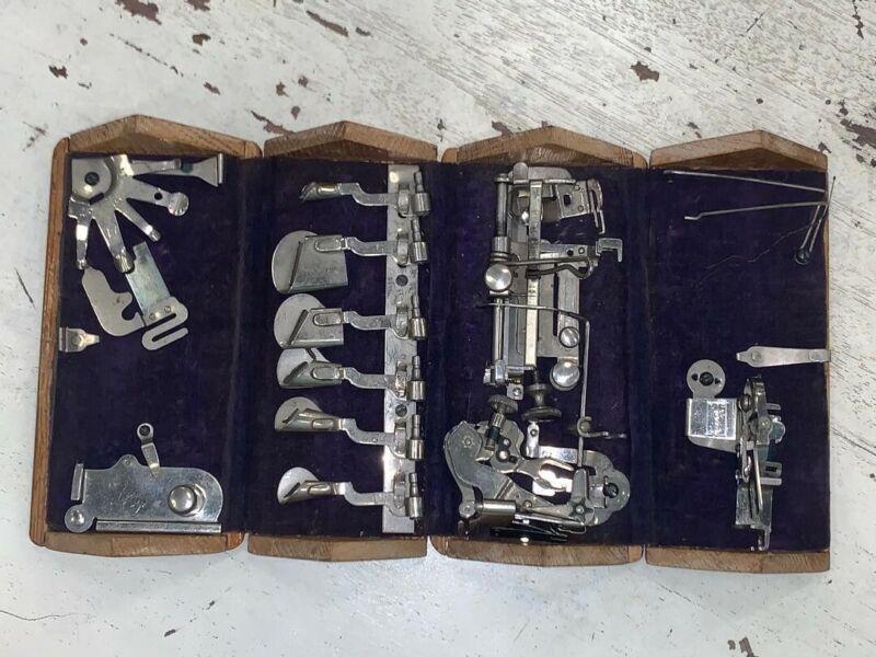 Antique Oak Folding Sewing Machine Box & Attachments