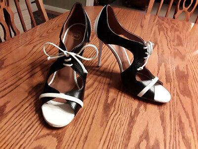 Malone Souliers Potomac Sz. 38.5/US 8, Black/White Leather Stilettos Excellent