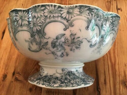 ANTIQUE PORCELAIN TRANSFERWARE FLORAL DAISY FOOTED PUNCH BOWL~FURNIVAL ENGLAND