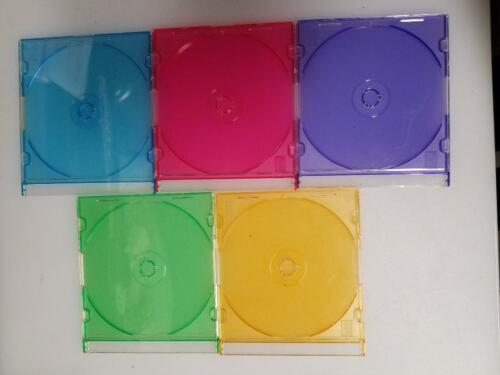 25 Slim CD Jewel Cases - Multi Colors - Great Used Condition
