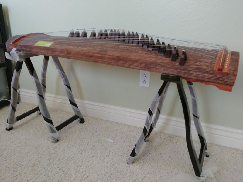 "Whole Piece Guzheng, Chinese Zither, 53""L, 21 string, Dug from whole truck"