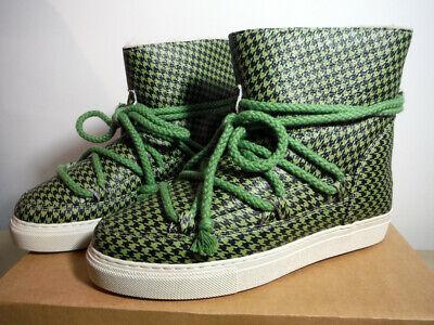 women's INUIKII Classic Shearling Sneaker Boot in Green/Black Print Retail