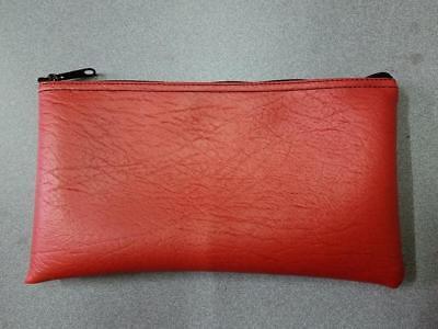 1 Brand New Red Zippered Vinyl Bank Deposit Money Bag Tool Organizer